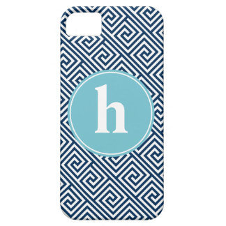 Blue Greek Key Pattern Monogram iPhone 5 Covers