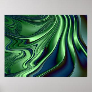 Blue Green 4 Fractal Abstract Art Poster