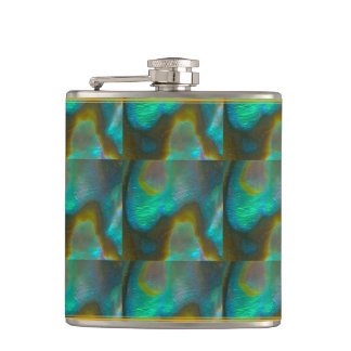 Blue Green Abalone Shell Hip Flask
