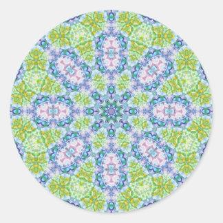 Blue Green Abstract Kaleidoscope Art Round Sticker