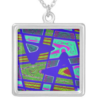 blue green abstract square pendant necklace