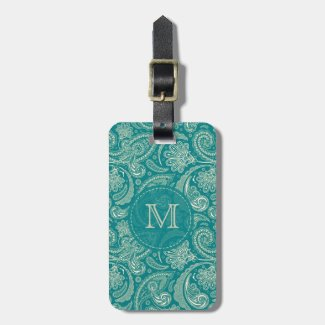 Blue-Green And Beige Creme Vintage Paisley Tags For Luggage