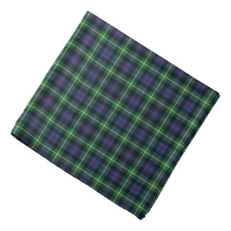Blue, Green, and Black Farquaharson Clan Tartan Bandana