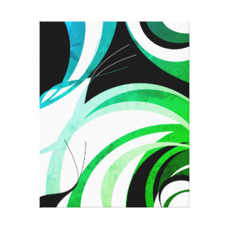 "Blue. green and black ""greenleaf"" design canvas print"