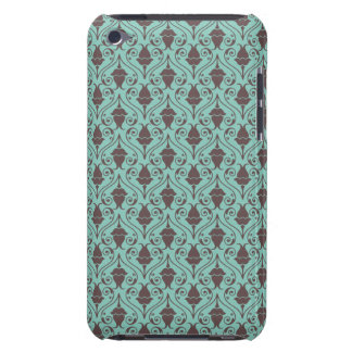 Blue-Green and Brown Fuchsia Floral Damask Pattern Barely There iPod Case
