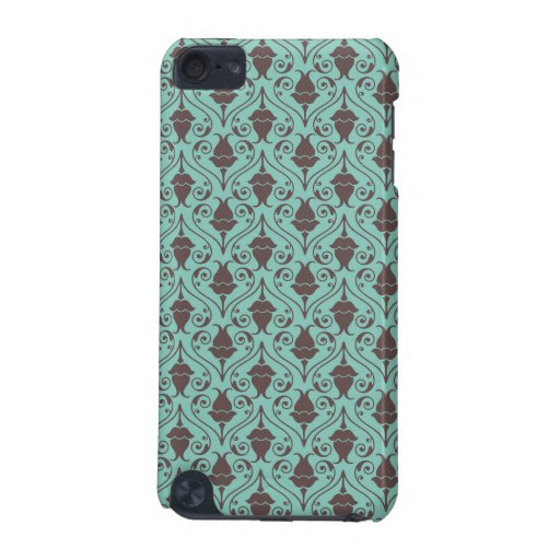 Blue-Green and Brown Fuchsia Floral Damask Pattern iPod Touch 5G Covers