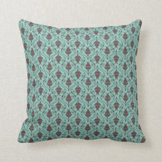 Blue-Green and Brown Fuchsia Floral Damask Pattern Cushion