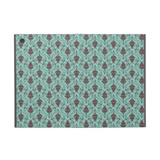 Blue-Green and Brown Fuchsia Floral Damask Pattern iPad Mini Cover