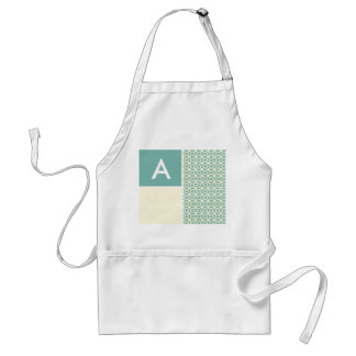 Blue-Green and Cream Floral Cute Apron