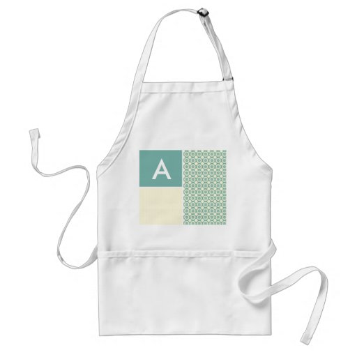 Blue-Green and Cream Floral; Cute Apron