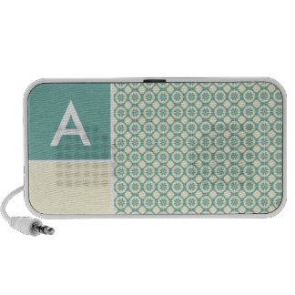 Blue-Green and Cream Floral Cute iPhone Speaker