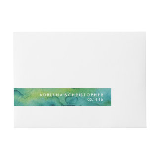 Blue Green and Gold Splatter Custom Wrap Label
