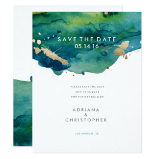 Blue Green and Gold Splatter Wedding Save the Date Card