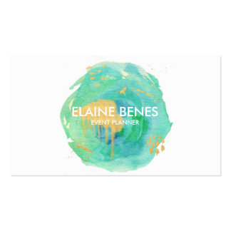 Blue Green and Gold Watercolor Business card