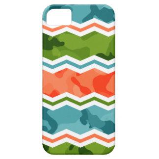 Blue, Green, and Orange Camo Chevron iPhone 5 Covers