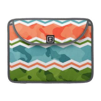 Blue, Green, and Orange Camo Chevron MacBook Pro Sleeves