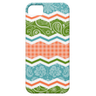 Blue, Green, and Orange Country Patterns iPhone 5 Cases