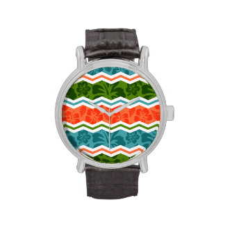 Blue, Green, and Orange Tropical Pattern Wristwatches