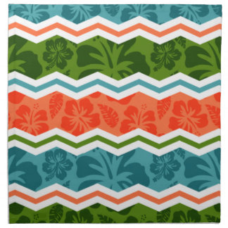 Blue, Green, and Orange Tropical Pattern Printed Napkins