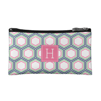 Blue Green and Pink Geometric Pattern Monogrammed Makeup Bag