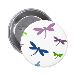 Blue, Green, and Purple Dragonflies 6 Cm Round Badge