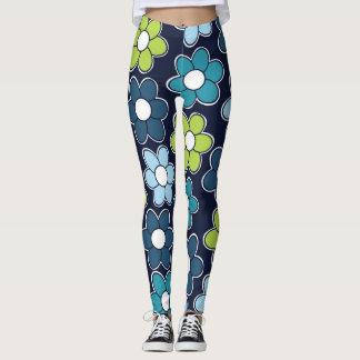 Blue Green and Teal Flower Leggings