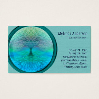 Blue, Green and Teal Tree of Life Business Card