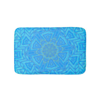 Blue Green and Turquoise Abstract Ice Flower Bath Mat