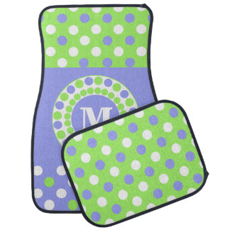 Blue, Green, and White  Custom Monogram Car Mats