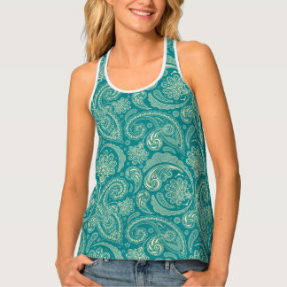Blue-Green And White Paisley Tank Top