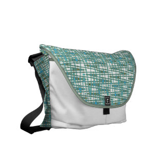 Blue green and white zigzag pattern messenger bag