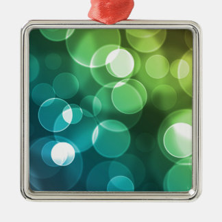 Blue Green And Yellow Bubbles Silver-Colored Square Decoration