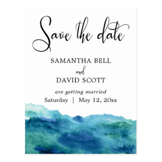 Blue Green Aqua Watercolor Modern Save the Date 2 Postcard