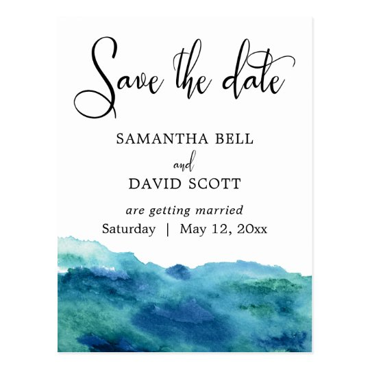Blue Green Aqua Watercolor Modern Save the Date