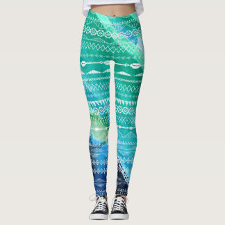 Blue Green Arrows Aztec Geometric Watercolor Leggings