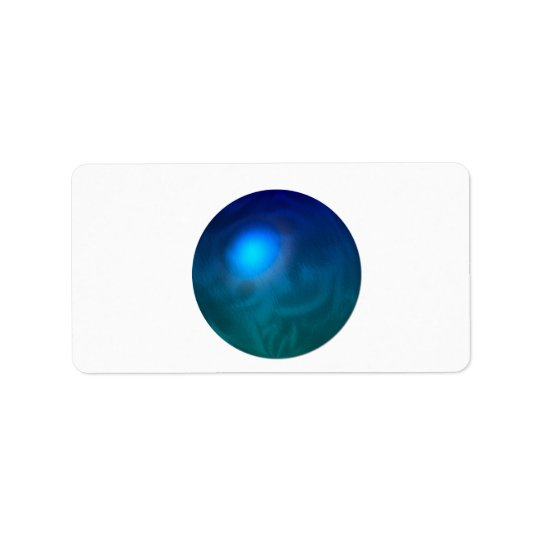 Blue green ball graphic metal reflection swirl address label