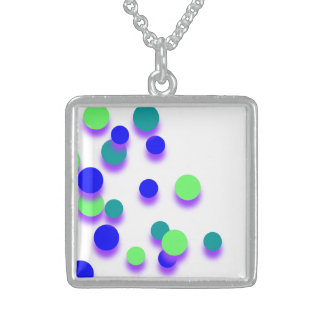 Blue Green Big Circle Silver Square Necklace