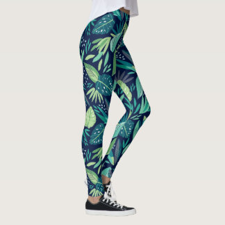 Blue & Green Botanical Leafs Pattern Leggings