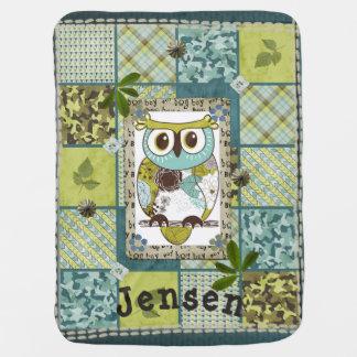 Blue & Green Boys Owl Name Baby Blanket