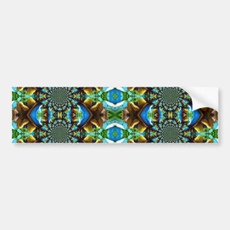 Blue Green Brown Abstract Chain Pattern Car Bumper Sticker
