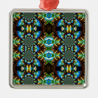 Blue Green Brown Abstract Chain Pattern Christmas Ornaments