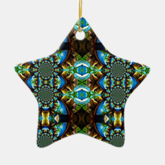 Blue Green Brown Abstract Chain Pattern Ornament