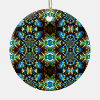 Blue Green Brown Abstract Chain Pattern Christmas Tree Ornament