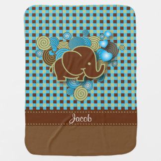 Blue, Green & Brown Plaid Baby Elephant Receiving Blankets