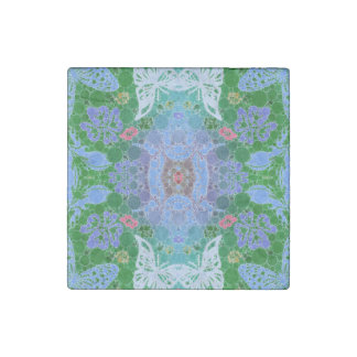Blue Green Butterfly Abstract Stone Magnet