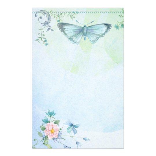 Blue Green Butterfly Flower Pretty Stationary Stationery