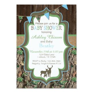 Blue Green Camo Baby Shower Invitation