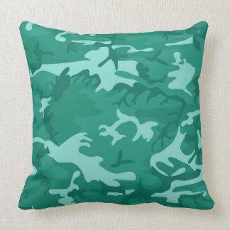 Blue Green Camo Throw Pillow