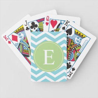 Blue Green Chevron Monogram Bicycle Playing Cards