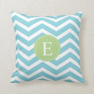 Blue Green Chevron Monogram Throw Pillow